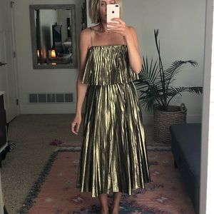 J.CREW COLLECTION PLEATED MIDI DRESS IN GOLD LAME